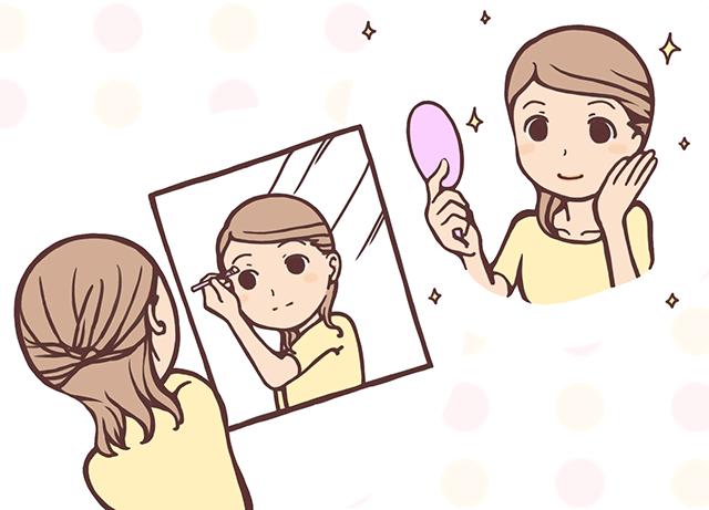 化粧直しやヘアメイクをして次の指名に備える